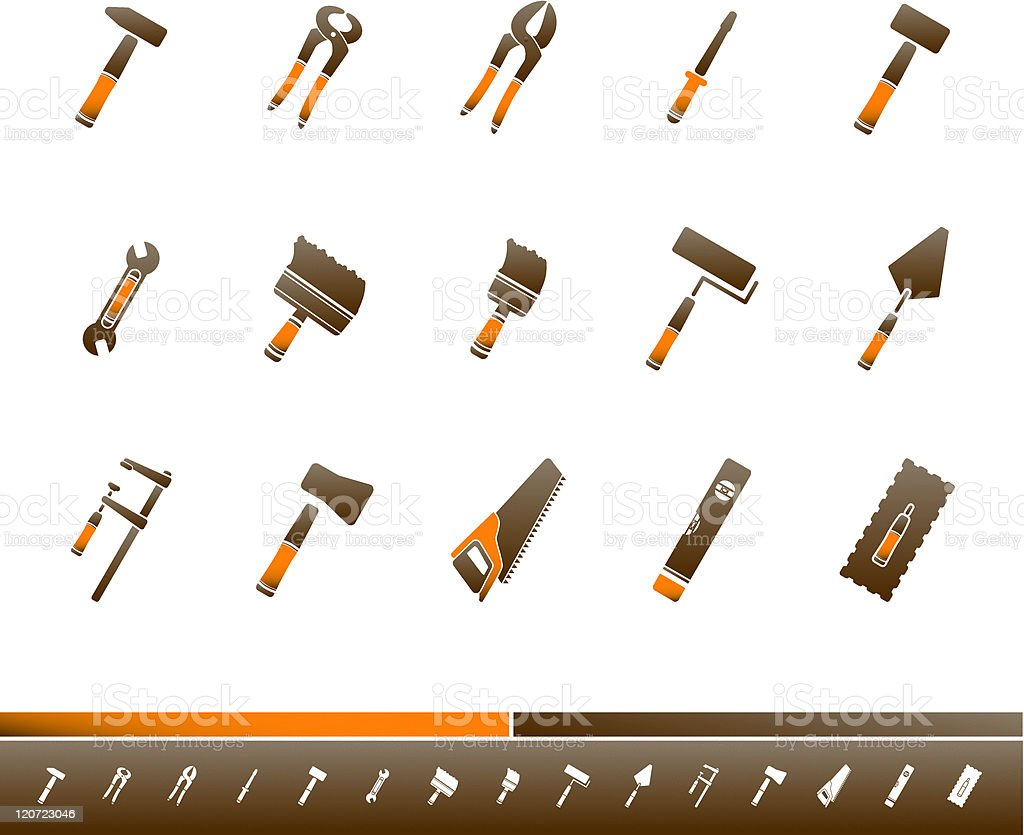 Tool Kit Icons | Orange Brown vector art illustration