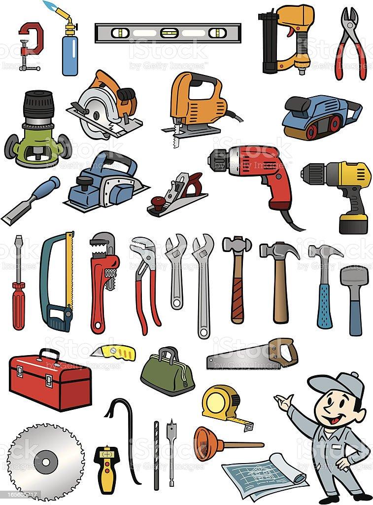 Tool Set vector art illustration