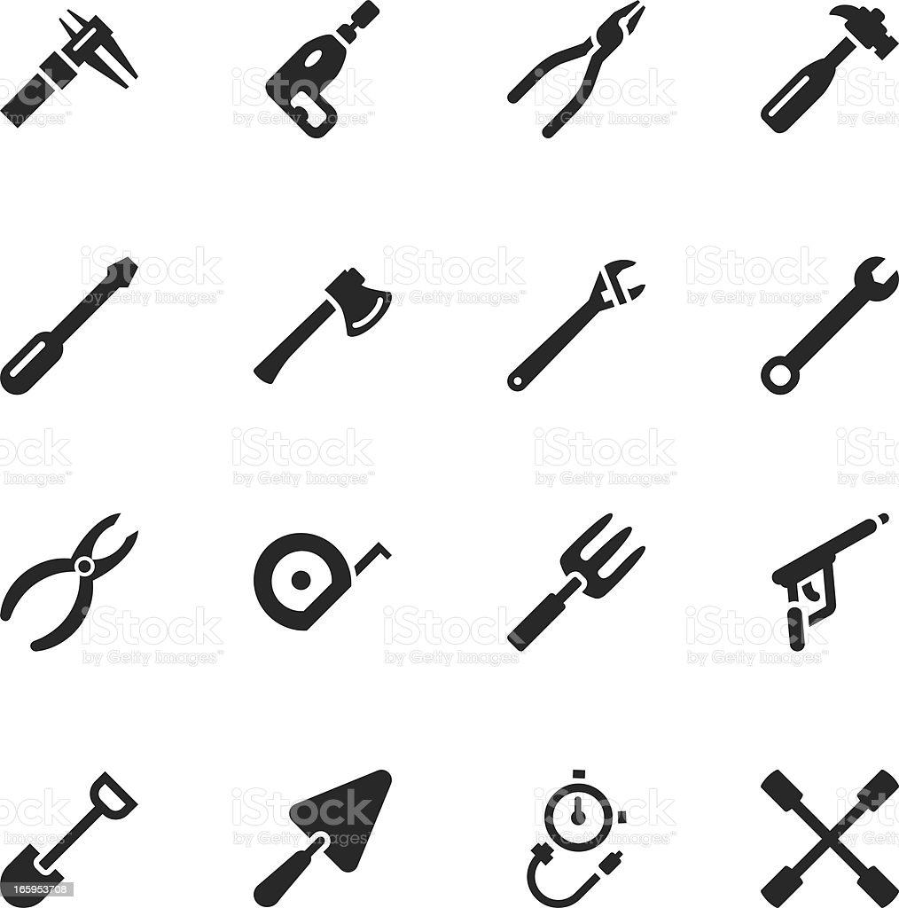 Tool Silhouette Icons vector art illustration
