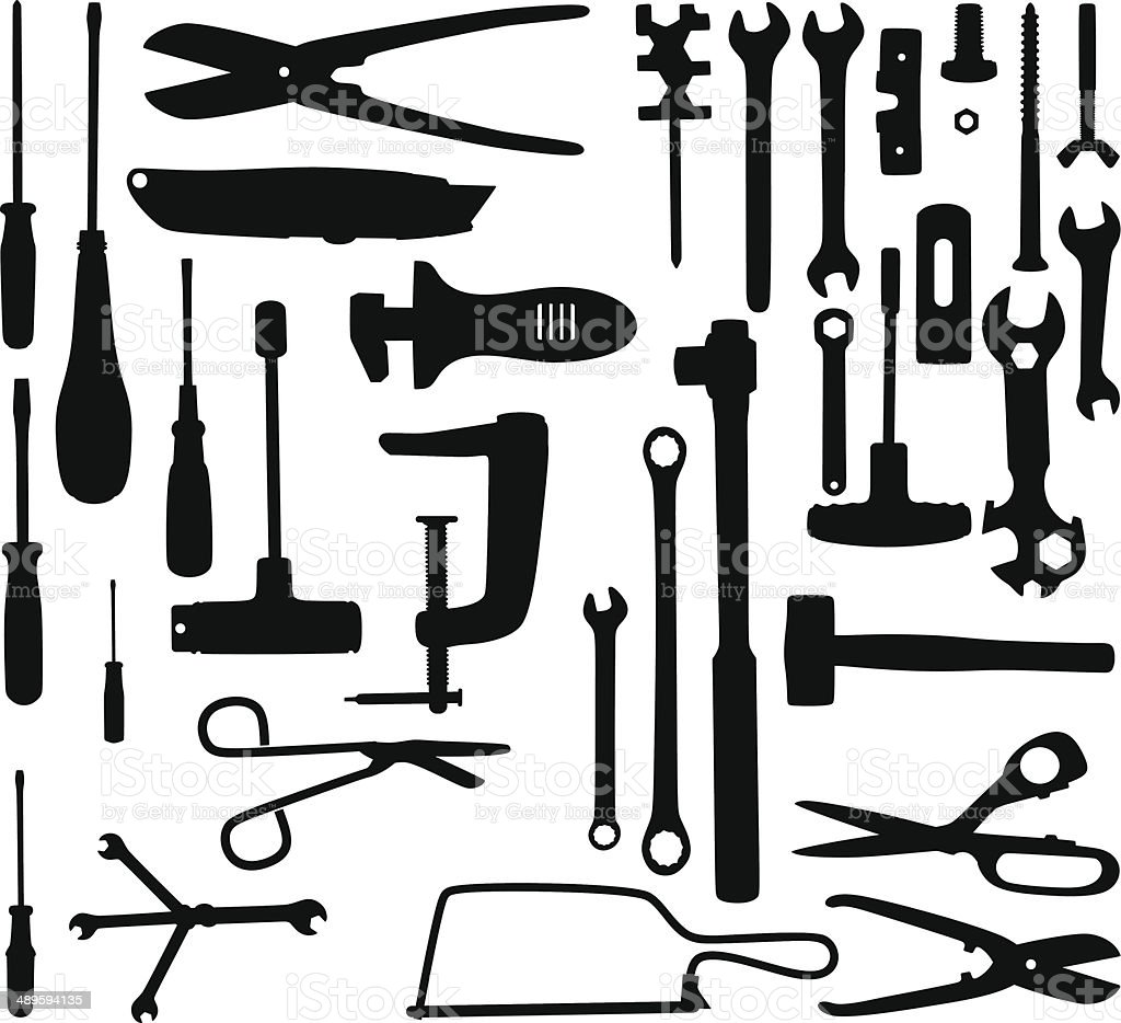 Tool silhouettes vector art illustration