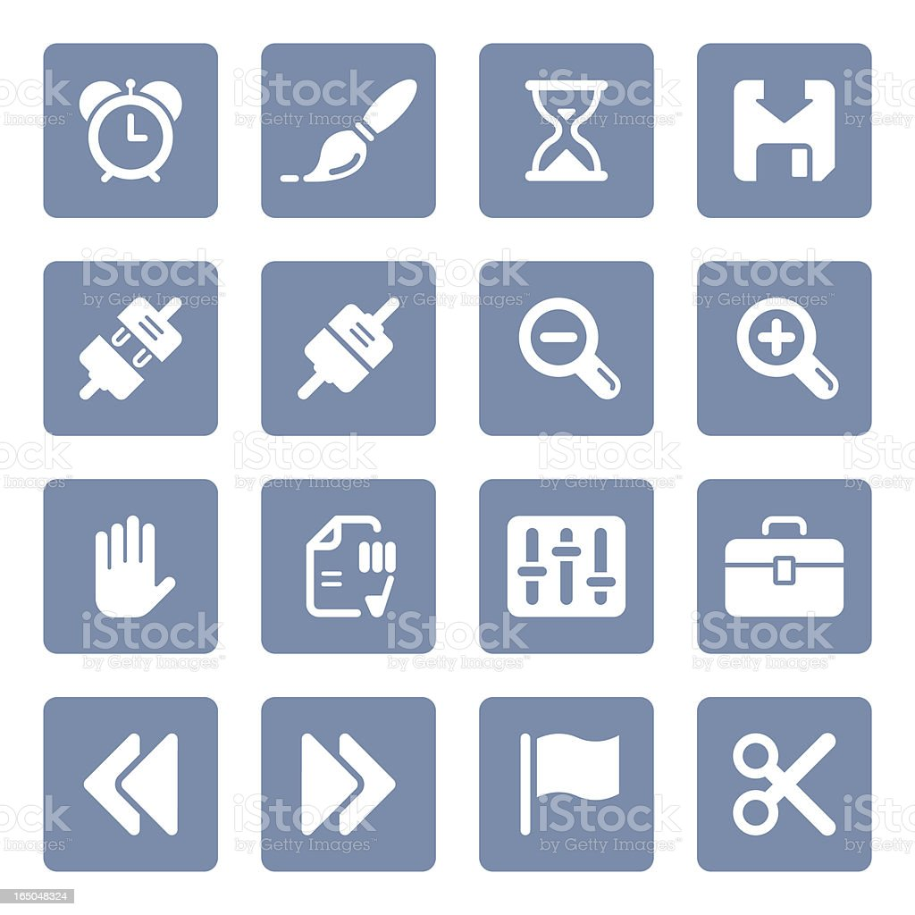 Toolbar & Interface icons | blue series royalty-free stock vector art