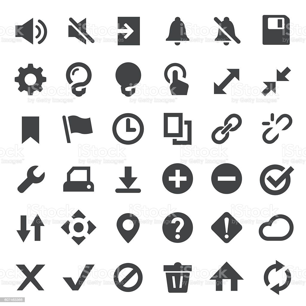 Toolbar and control Icons Set - Big Series vector art illustration