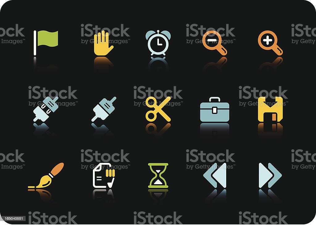 Toolbar and Interface icons   color series royalty-free stock vector art