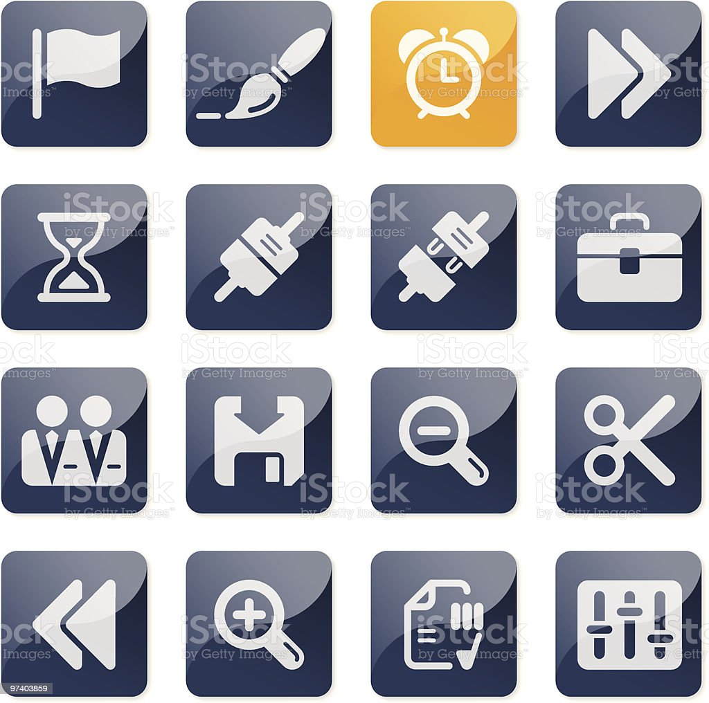 Toolbar and Interface icons | glossy series royalty-free stock vector art