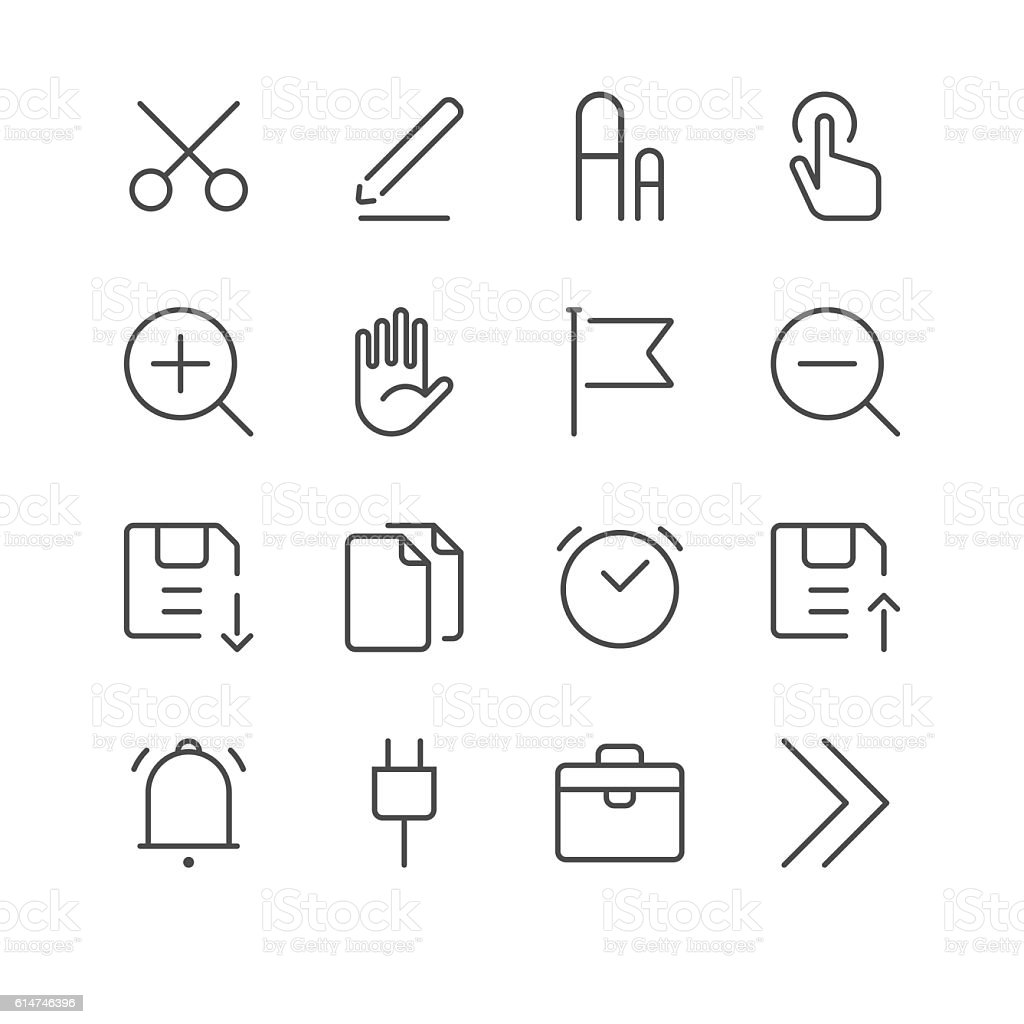 Toolbar and Interface Icons set 1 | Black Line series vector art illustration