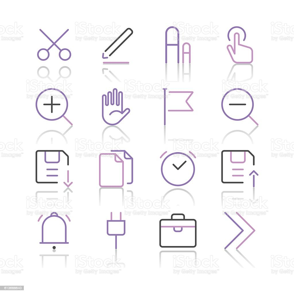Toolbar and Interface Icons set 1 | Purple Line series vector art illustration