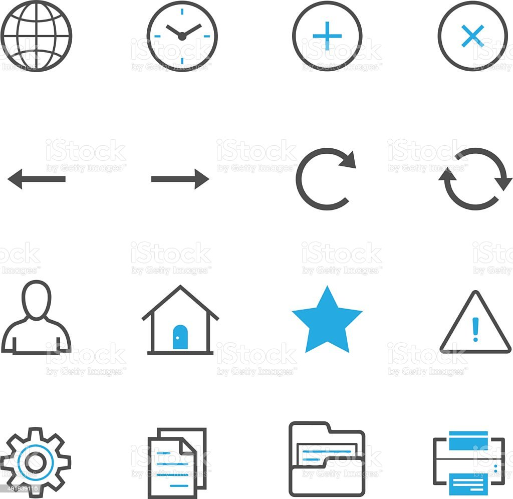 Toolbar Icons for Application and website vector art illustration