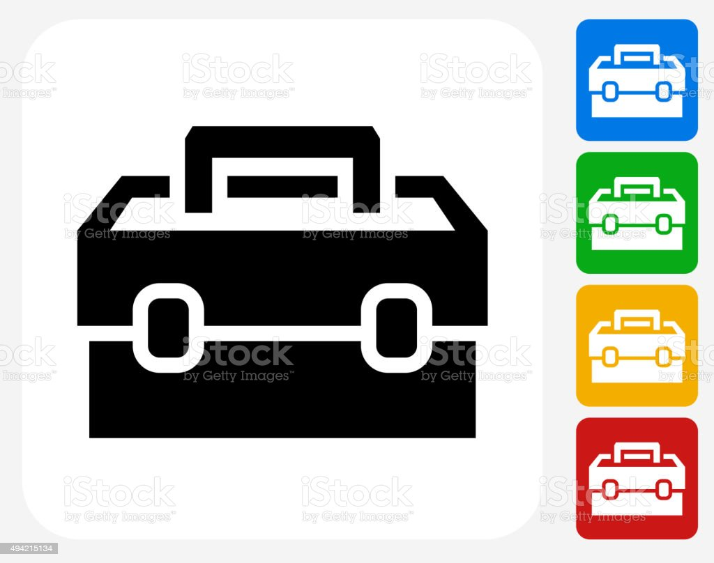 Toolbox Icon Flat Graphic Design vector art illustration