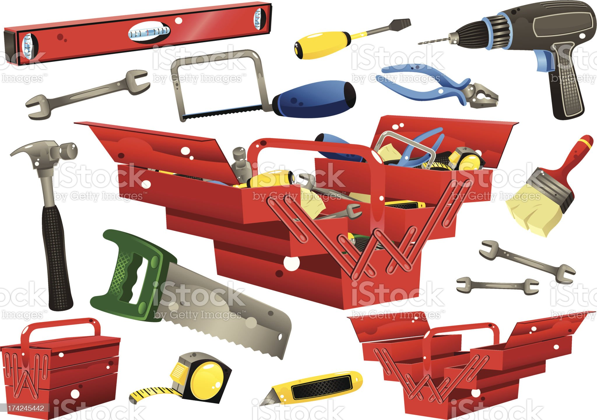 Toolboxes with hand tools royalty-free stock vector art