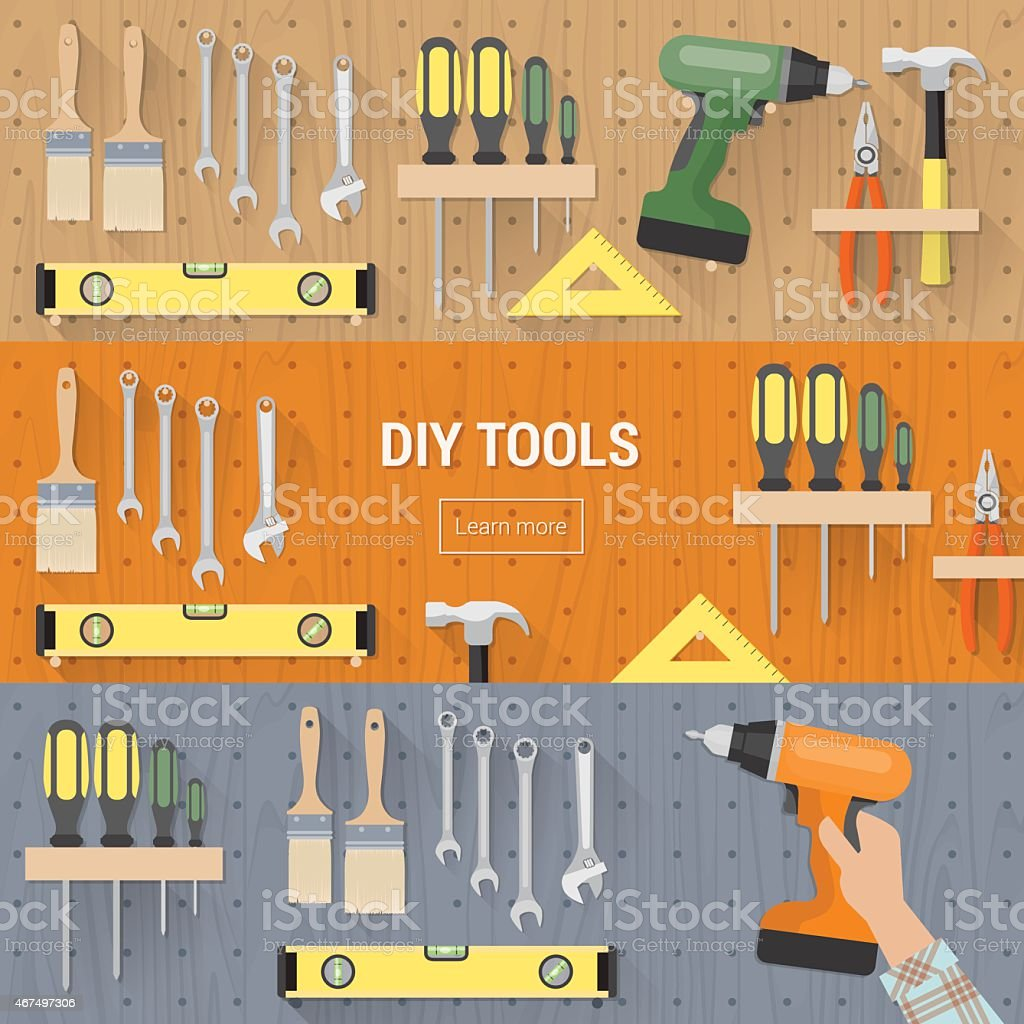 DIY toold banners set vector art illustration