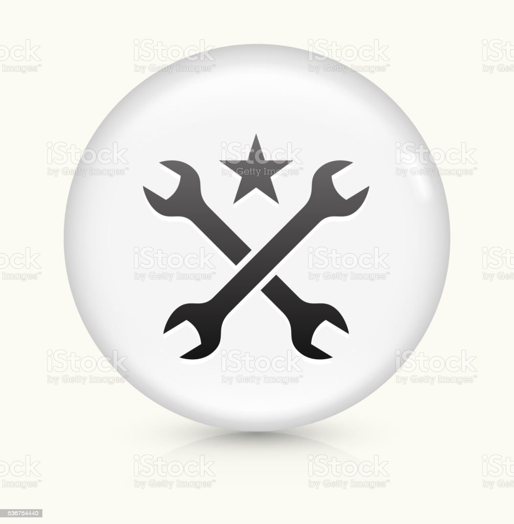 Tools and Hardware icon on white round vector button vector art illustration