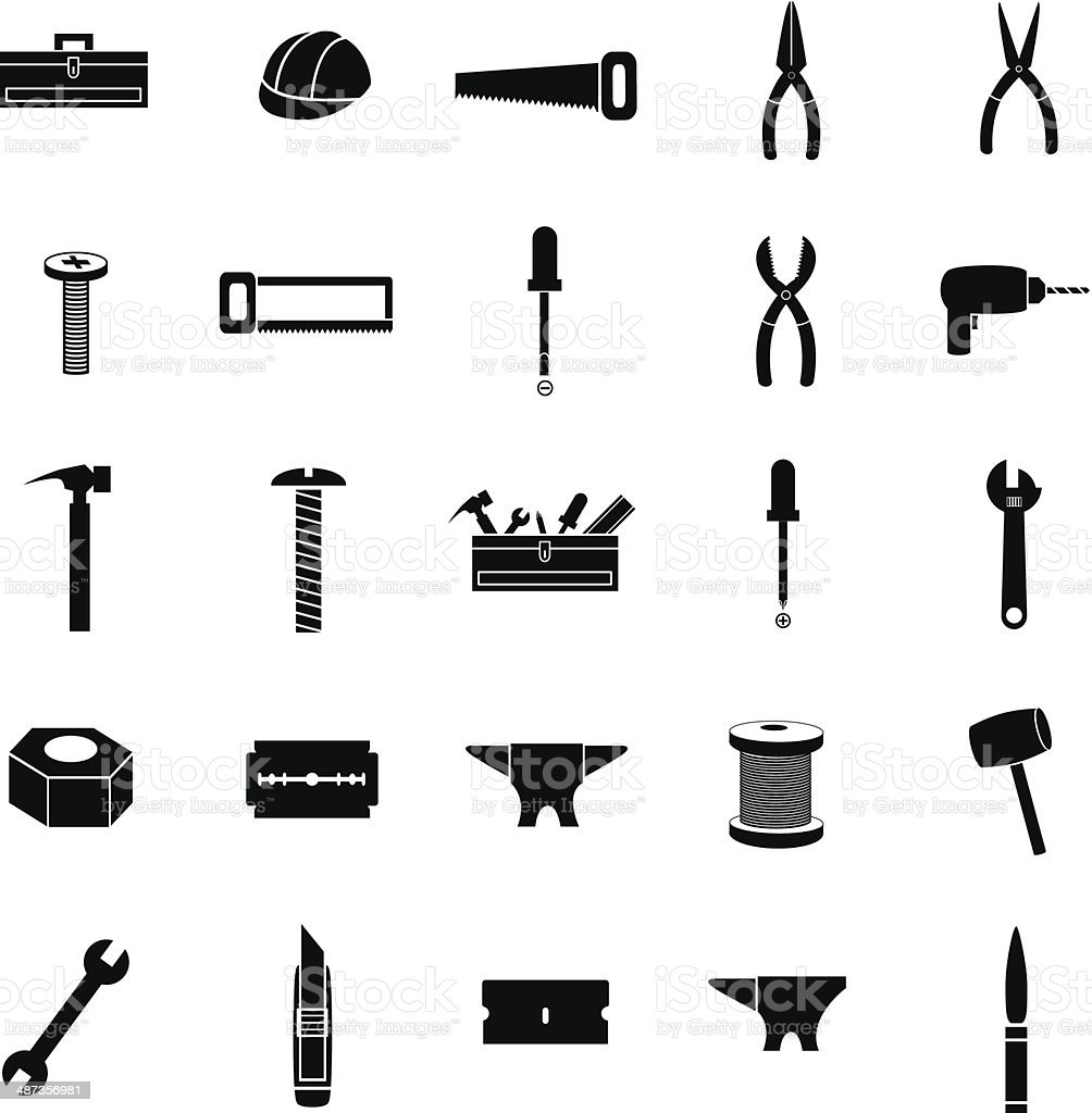 tools and hardware icons set vector art illustration