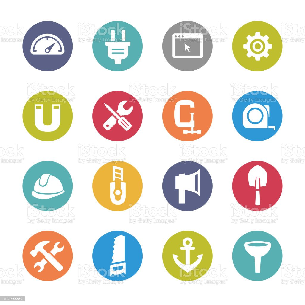 Tools and Settings Icons - Circle Series vector art illustration