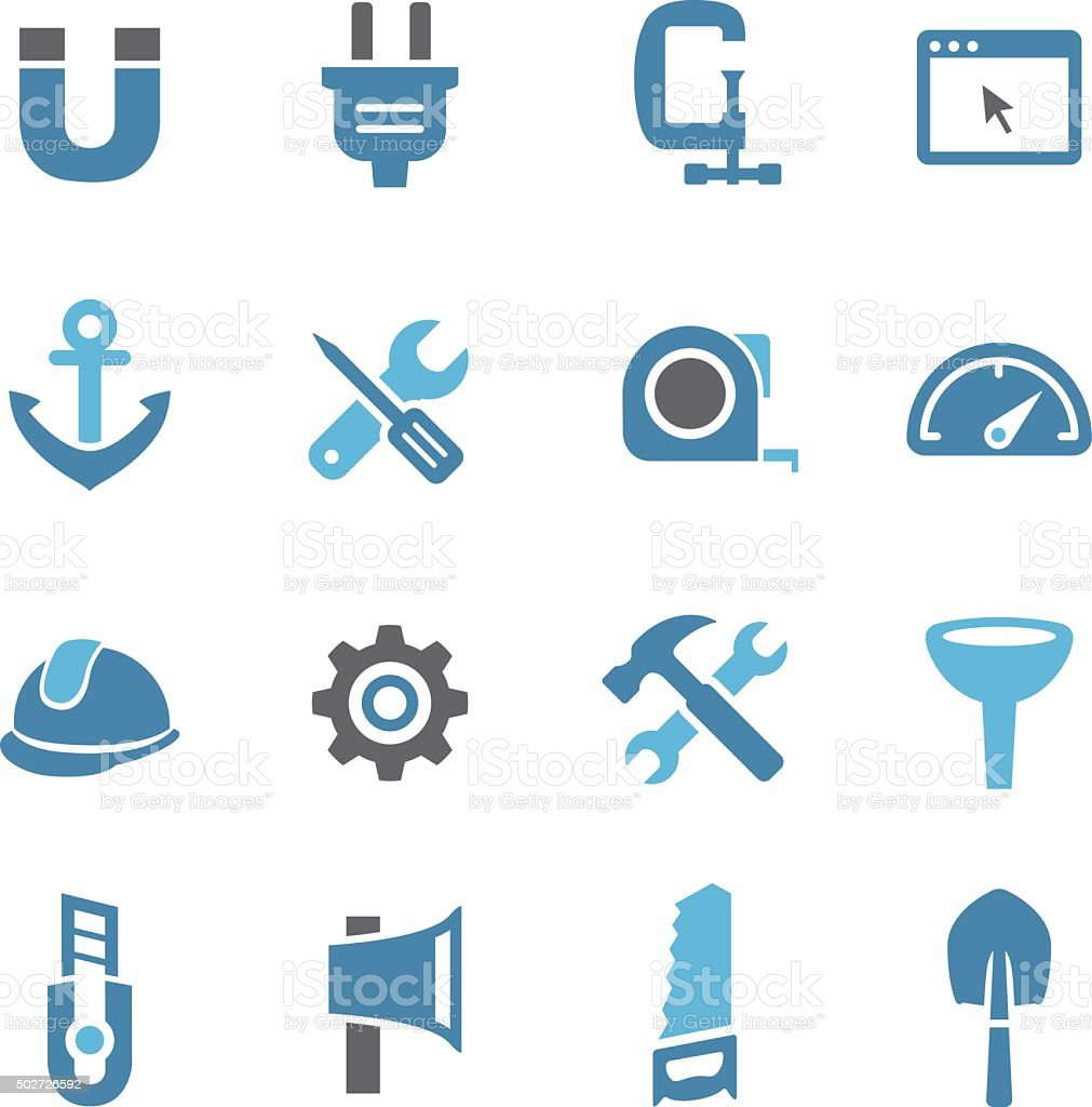 Tools and Settings Icons - Conc Series vector art illustration
