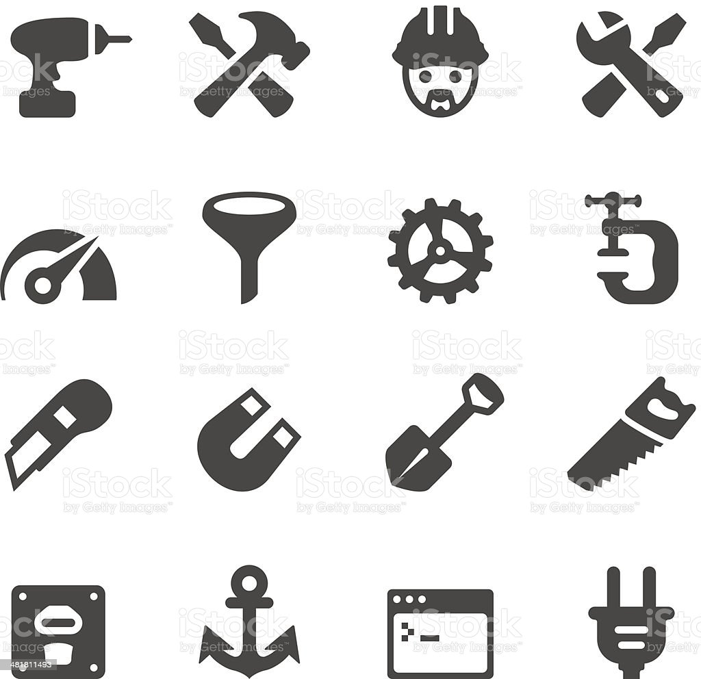 Tools and Settings icons - Mobico collection vector art illustration