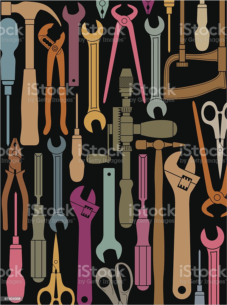 Tools background two. vector art illustration