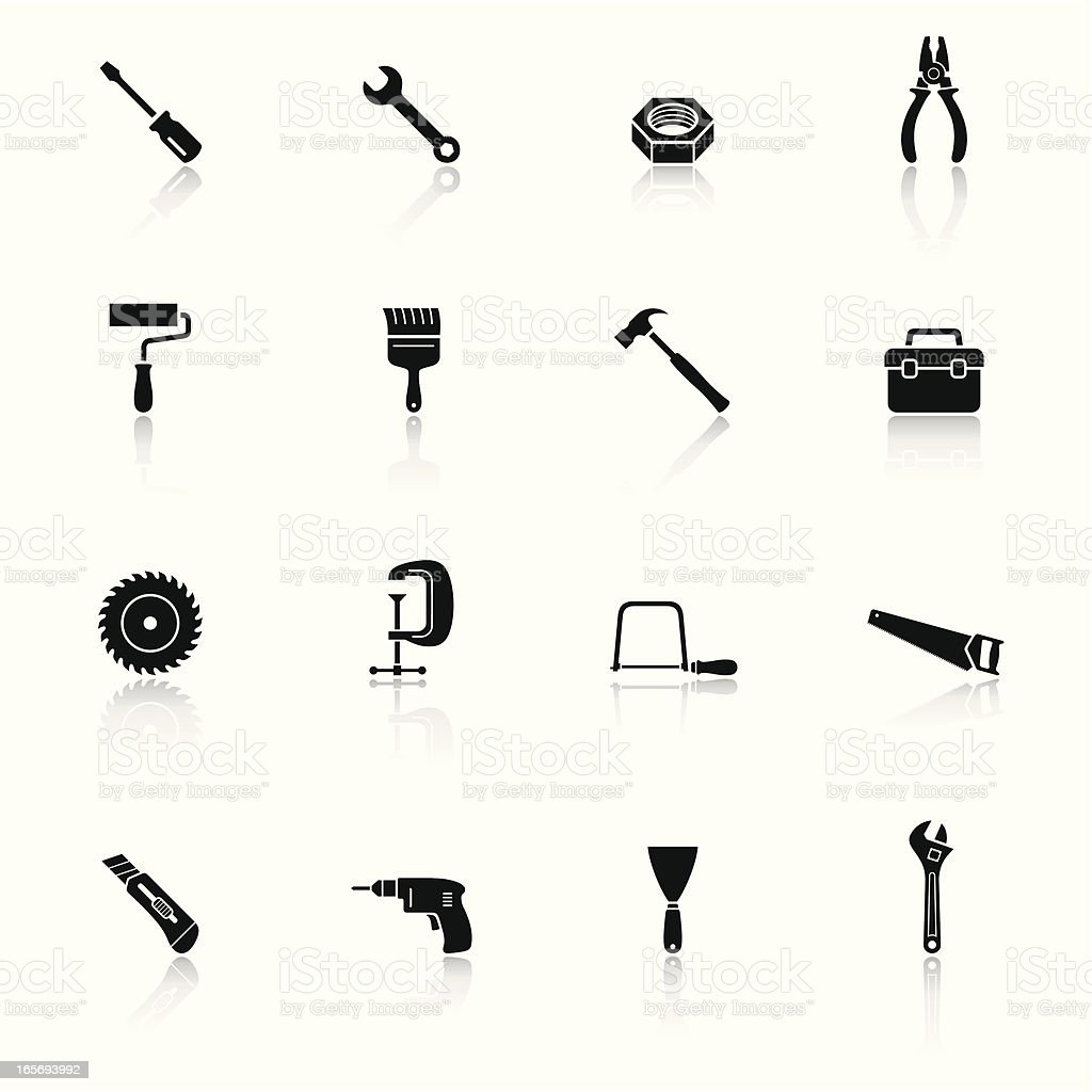 Tools Black & White Icons Set royalty-free stock vector art