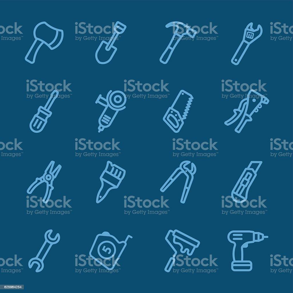 Tools blue line icon vector art illustration