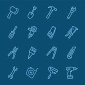 Tools blue line icon