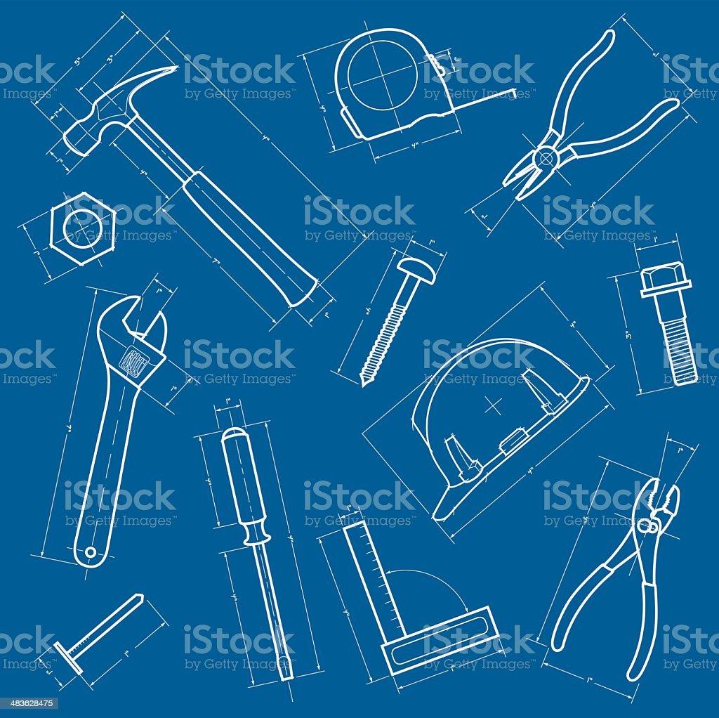 Tools Blueprint Background vector art illustration