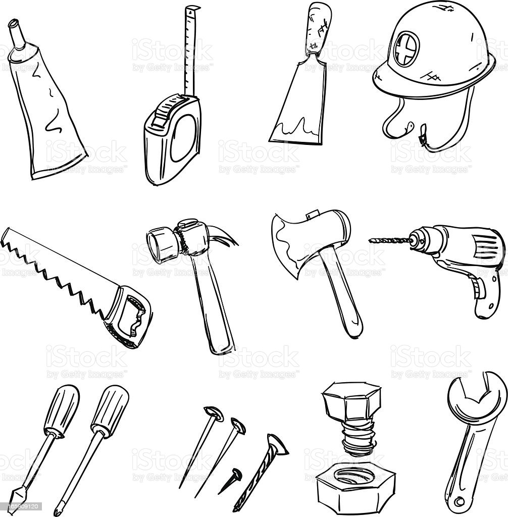 Tools collection in black and white royalty-free stock vector art