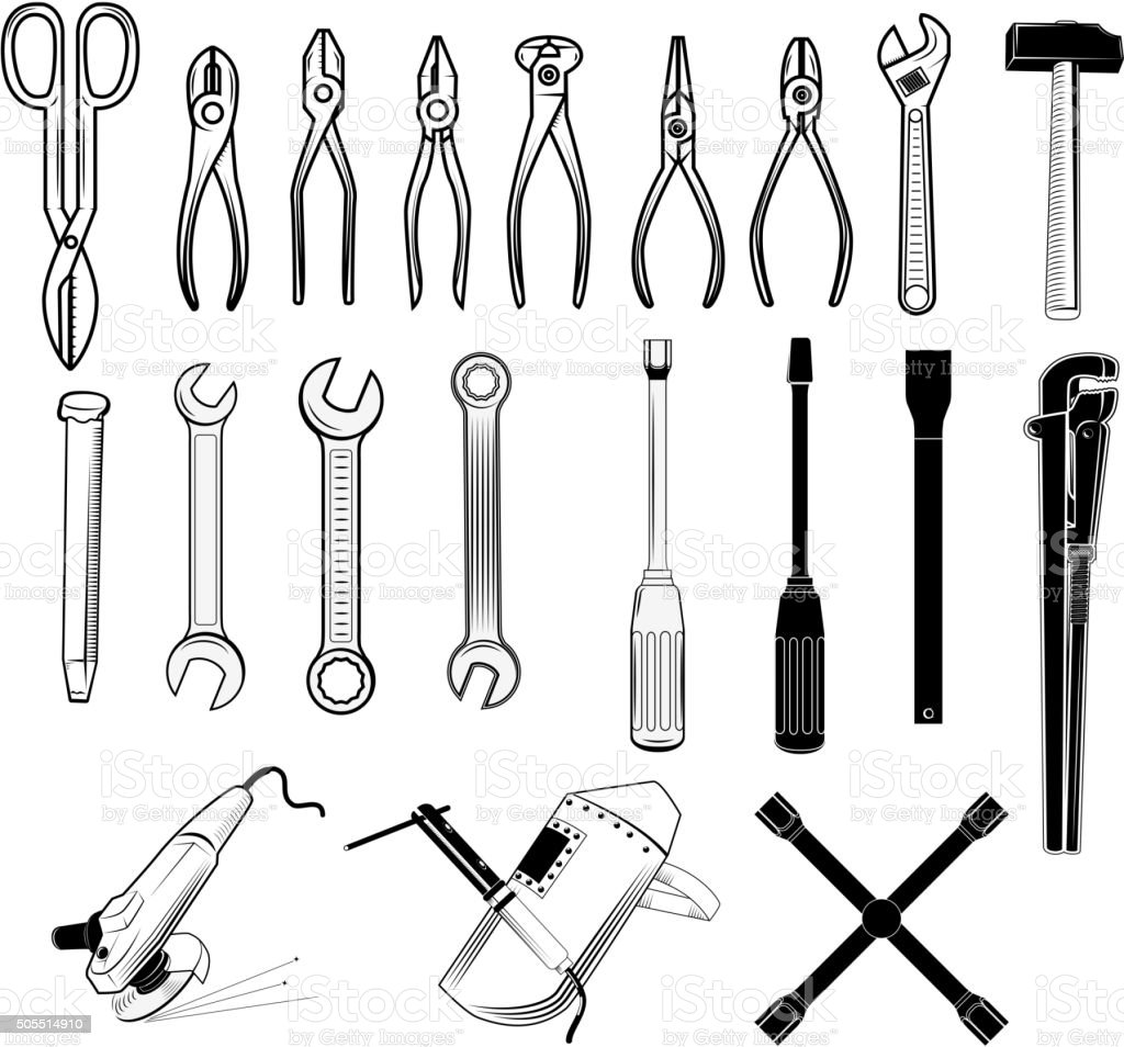 tools collection in vector. vector art illustration