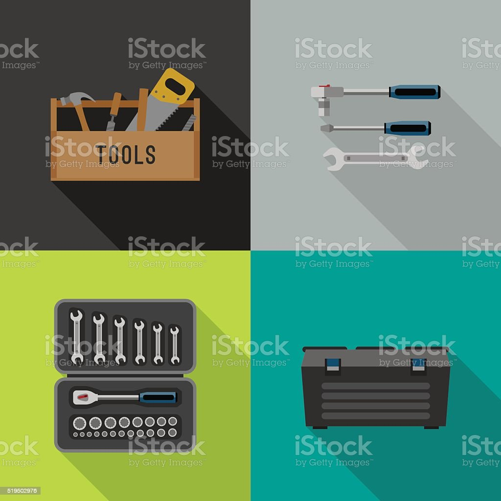 Tools flat icons. vector art illustration