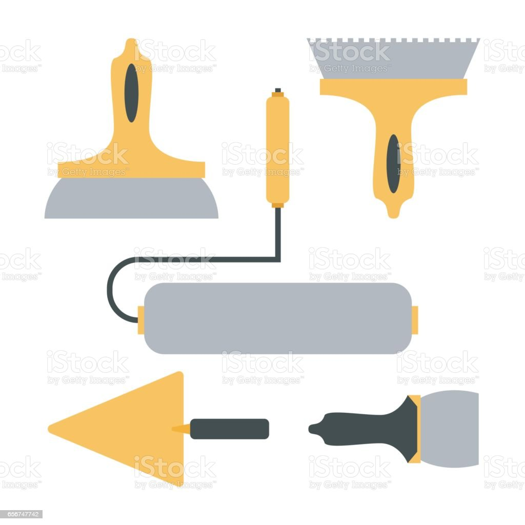 Tools for finishing. Cartoon decoration tools vector art illustration