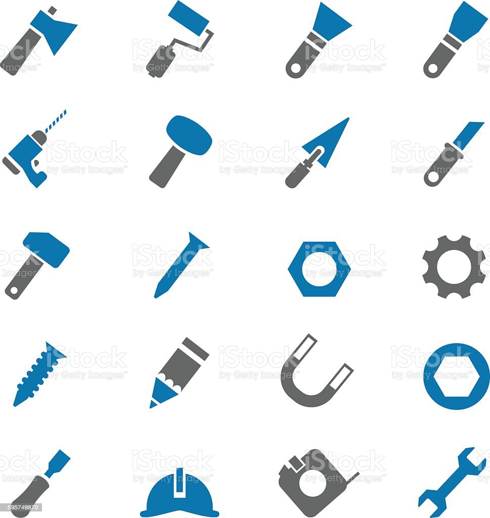 Tools icon set vector art illustration