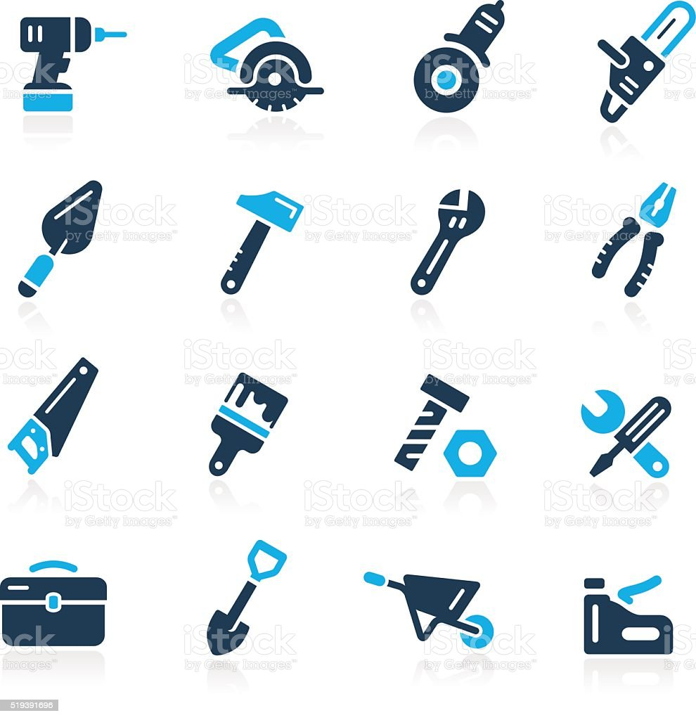 Tools Icons // Azure Series vector art illustration