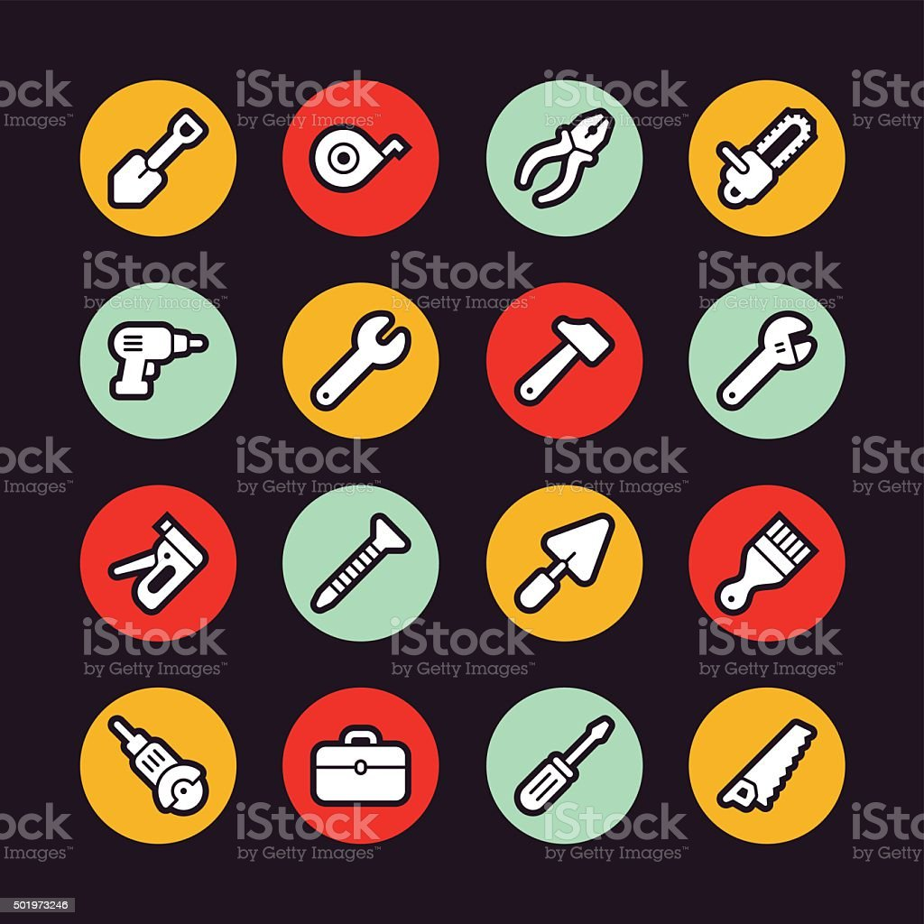 Tools icons - Regular Outline - Circle vector art illustration