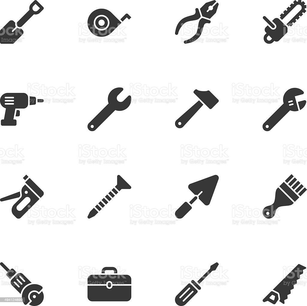 Tools icons - Regular vector art illustration