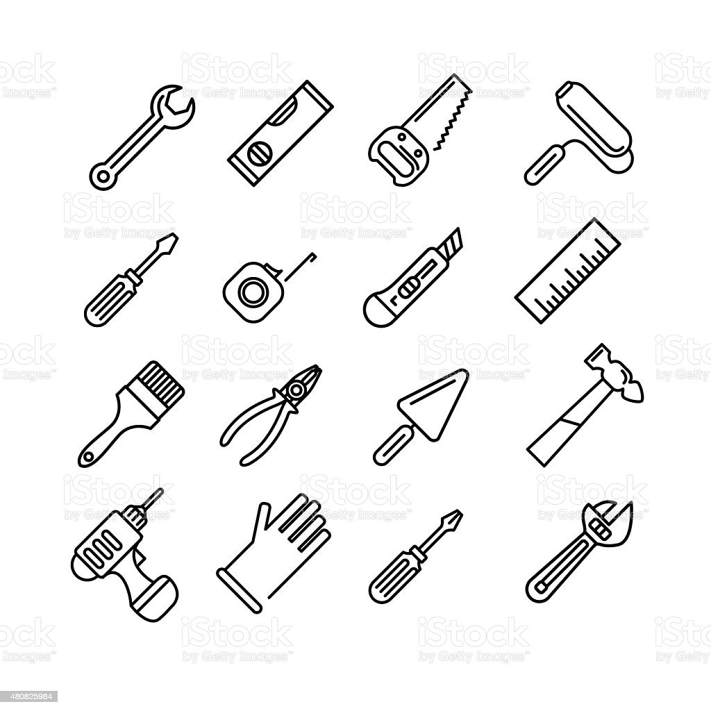 Tools icons set vector art illustration