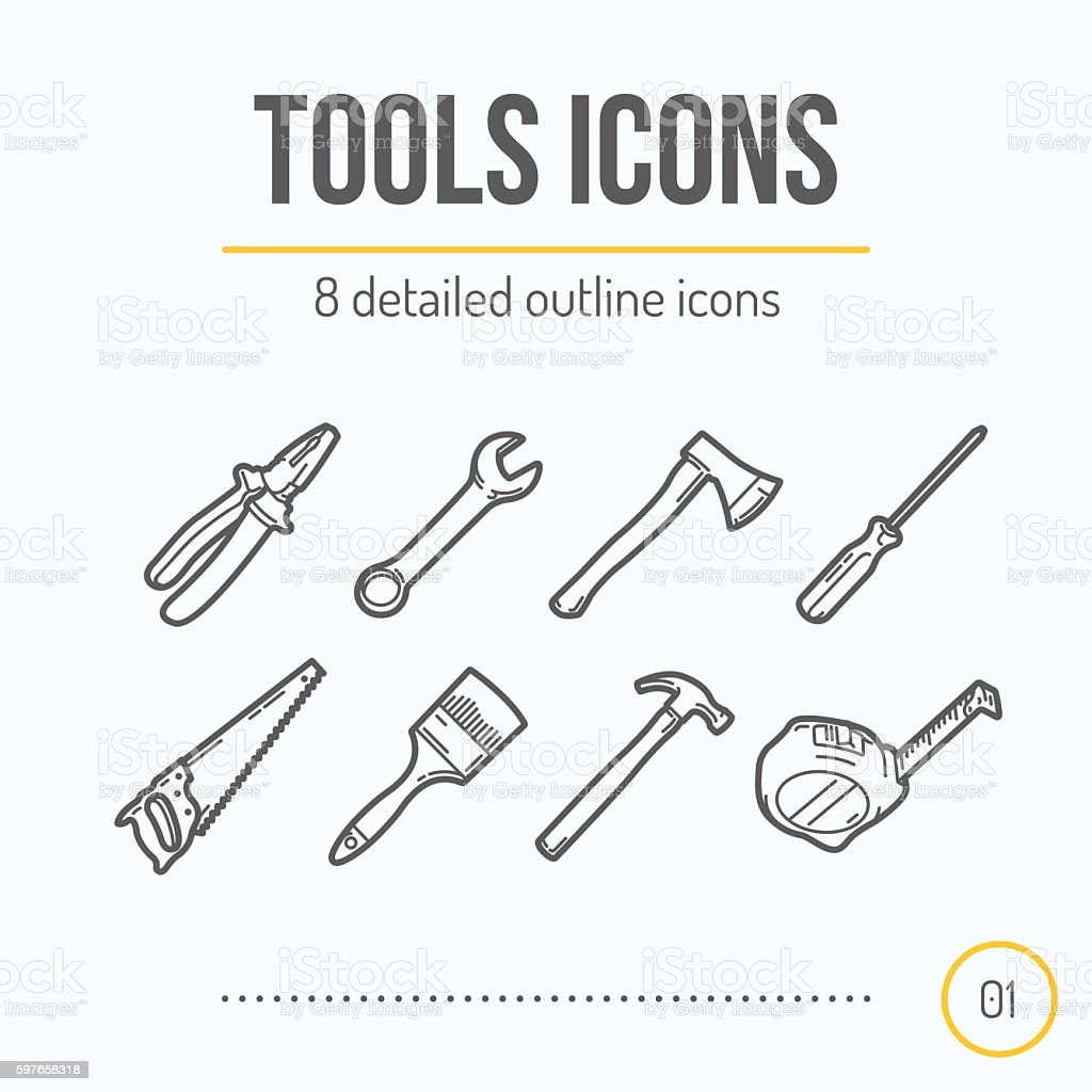 Tools Icons Set vector art illustration