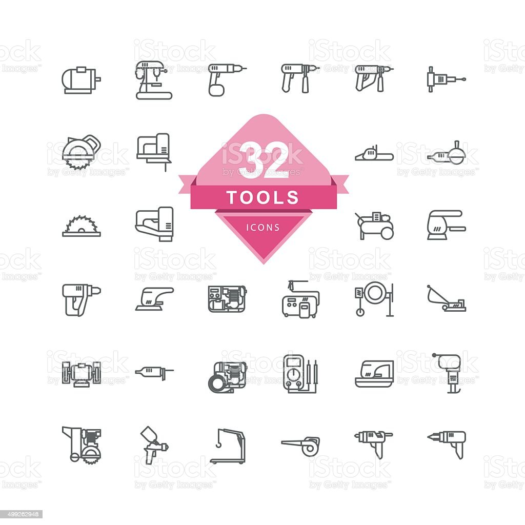Tools Icons ( Line Icons ) vector art illustration