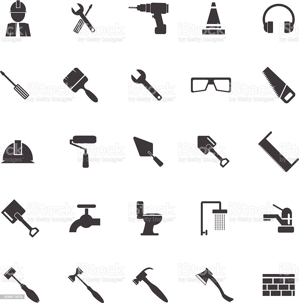 Tools icons vector art illustration