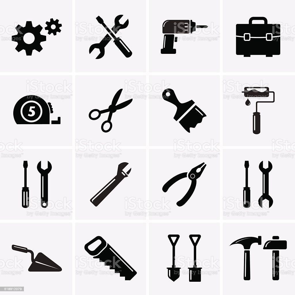 Tools icons vector art illustration