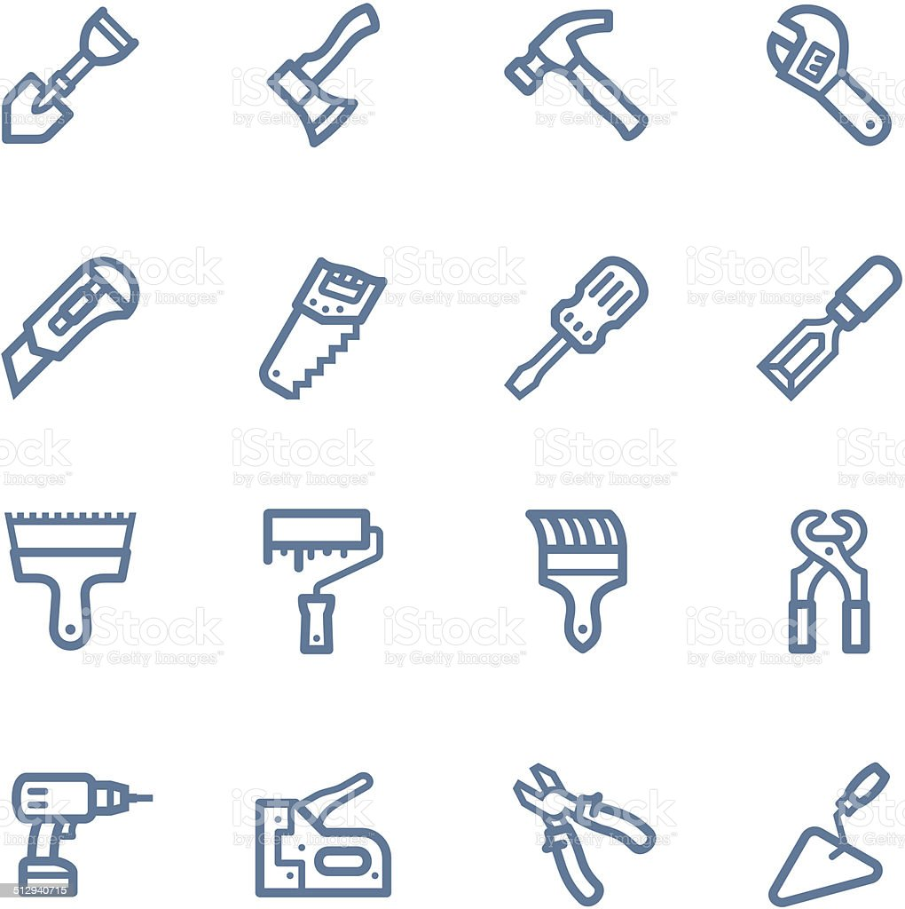 Tools line icons vector art illustration