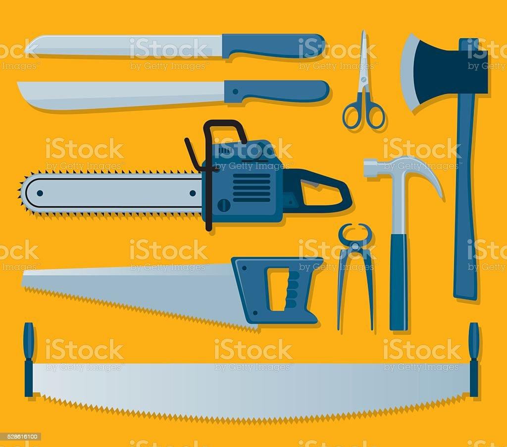 Tools of carpenter vector art illustration