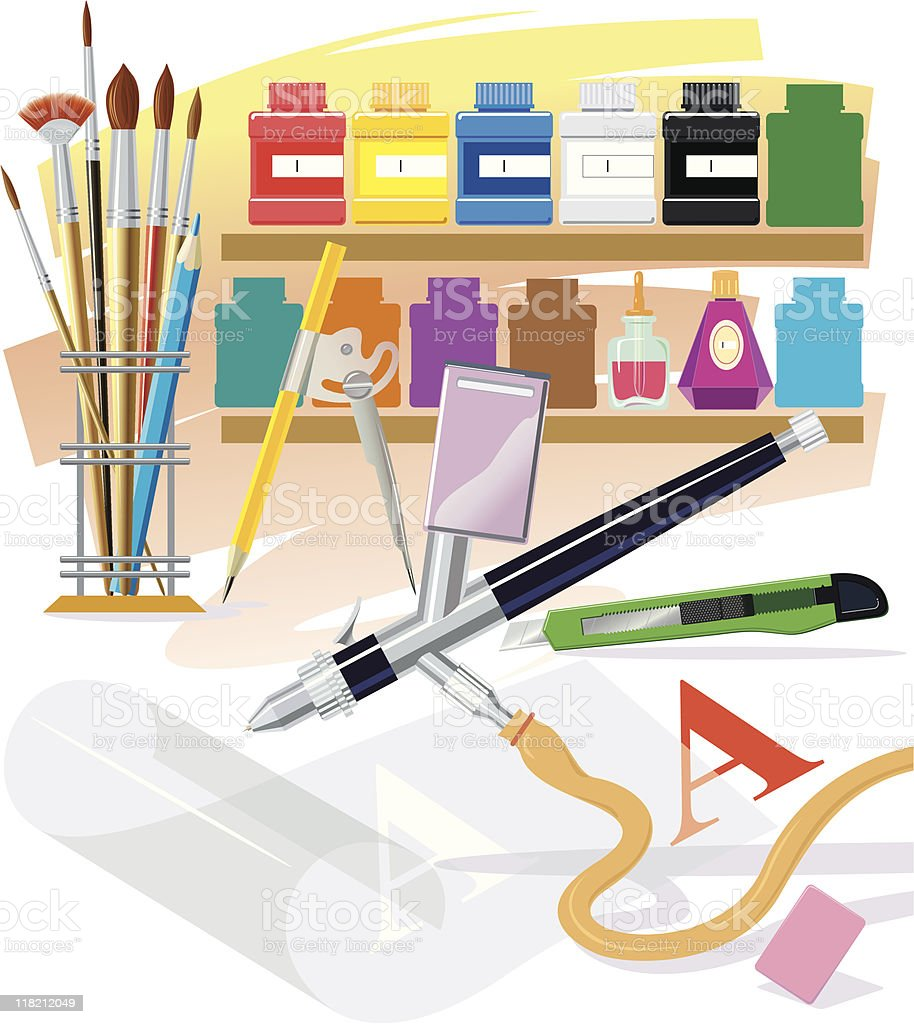 Tools of the artist royalty-free stock vector art