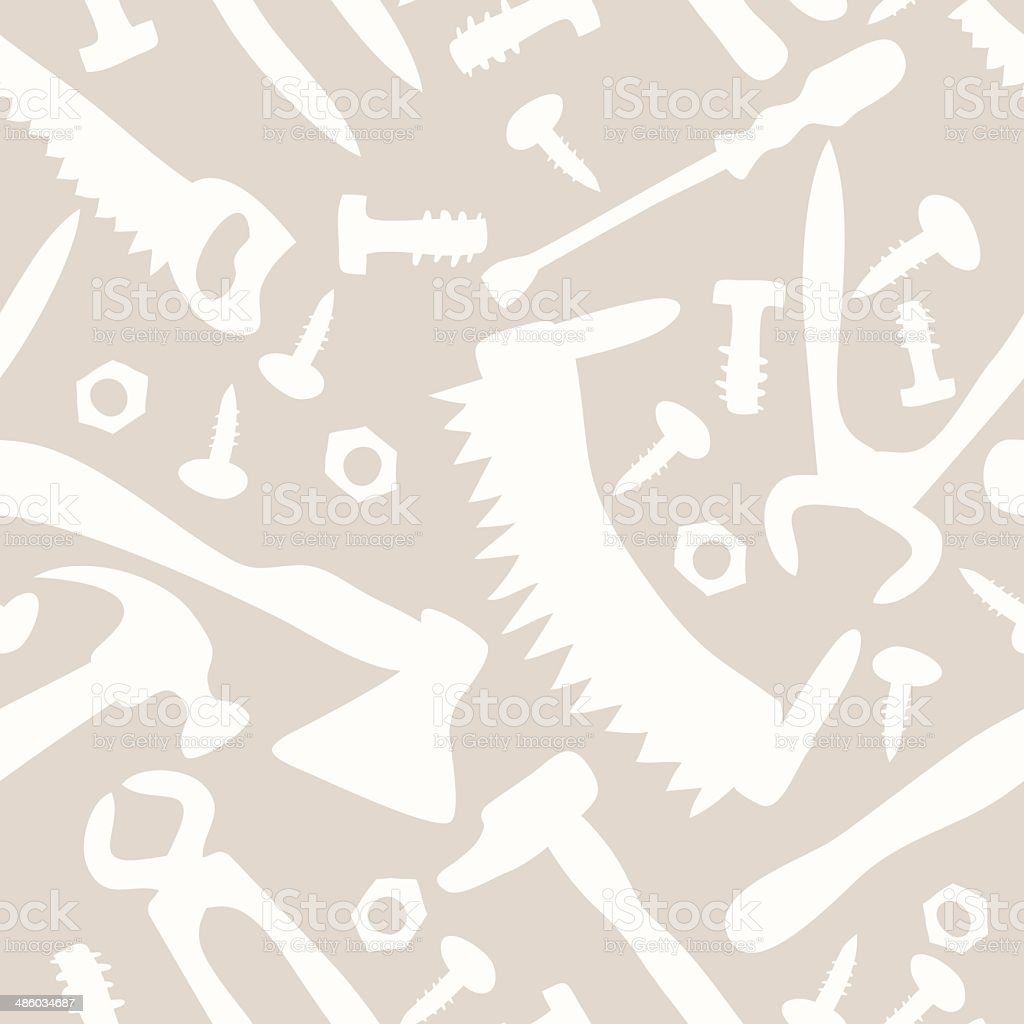 tools on a white background seamless pattern vector art illustration