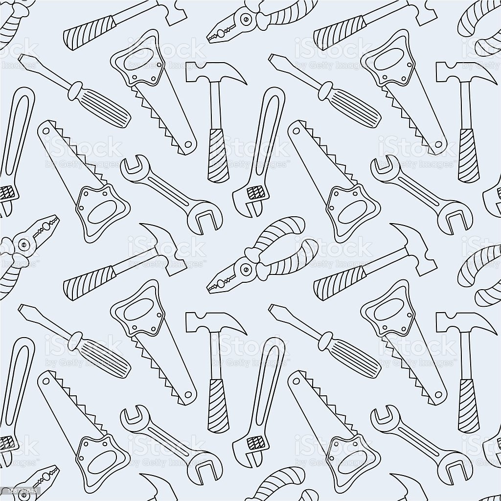 Tools seamless line pattern royalty-free stock vector art