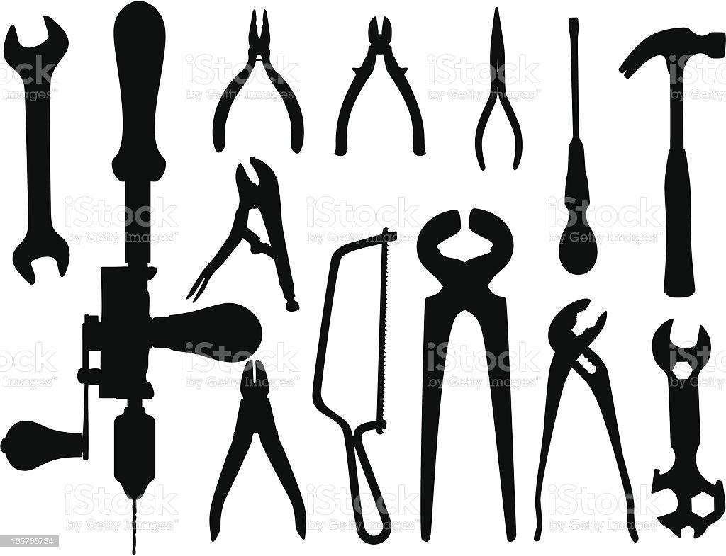 Tools silhouettes vector art illustration