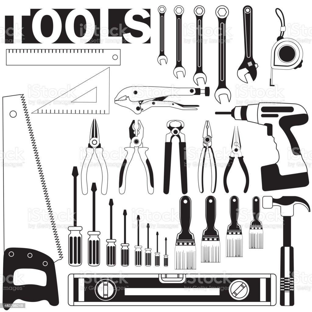 tools two tone vector art illustration