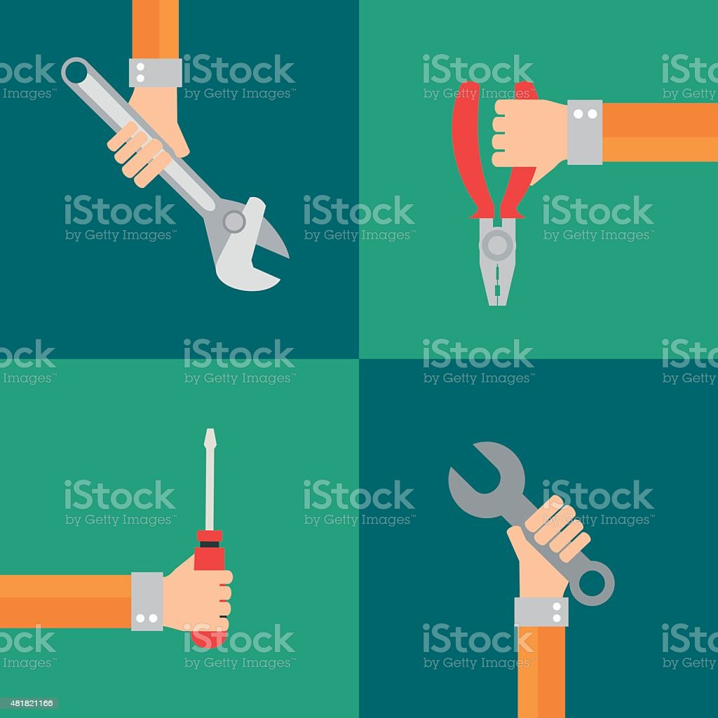Tools vector, flat design style vector art illustration