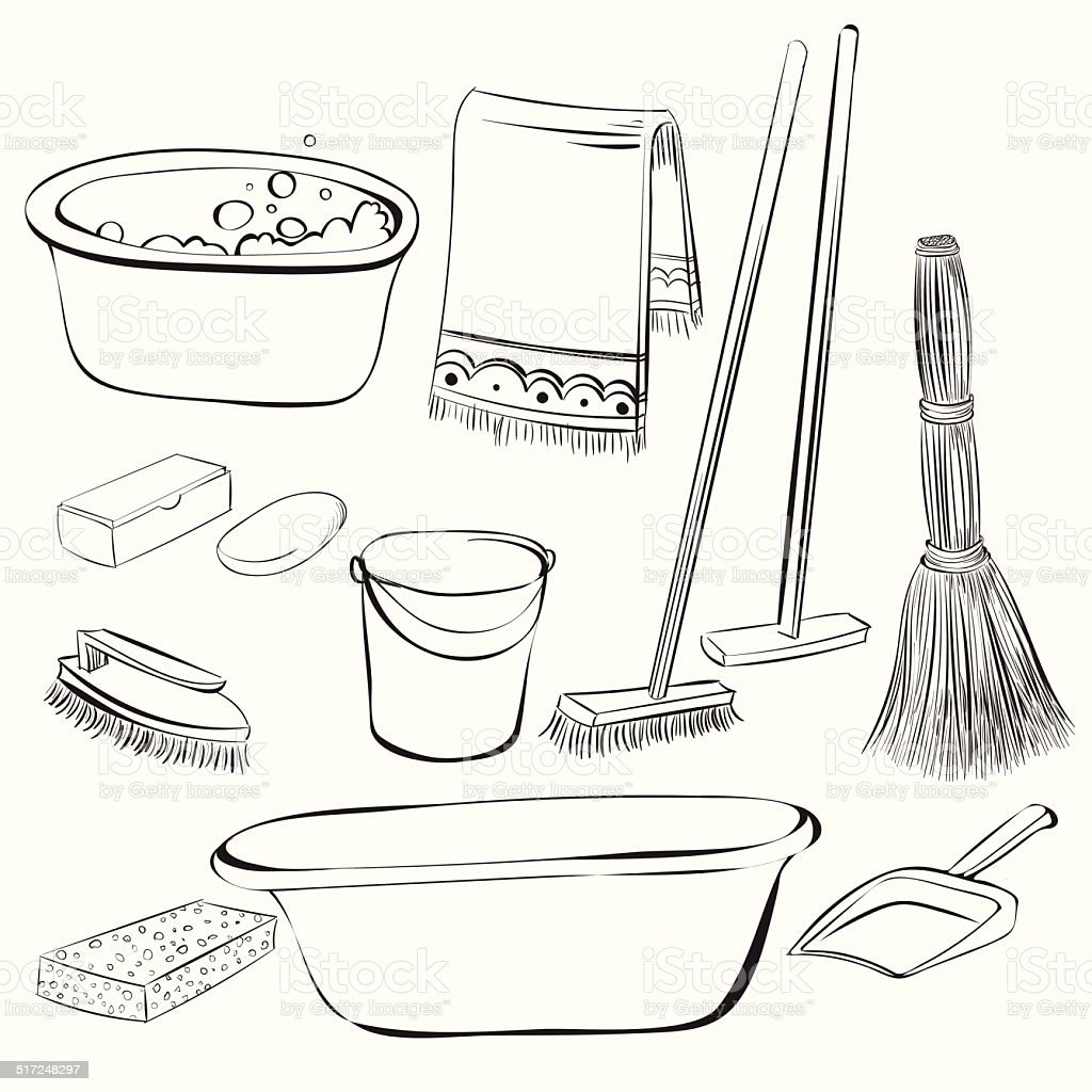 tools with things for cleaning and wash vector art illustration