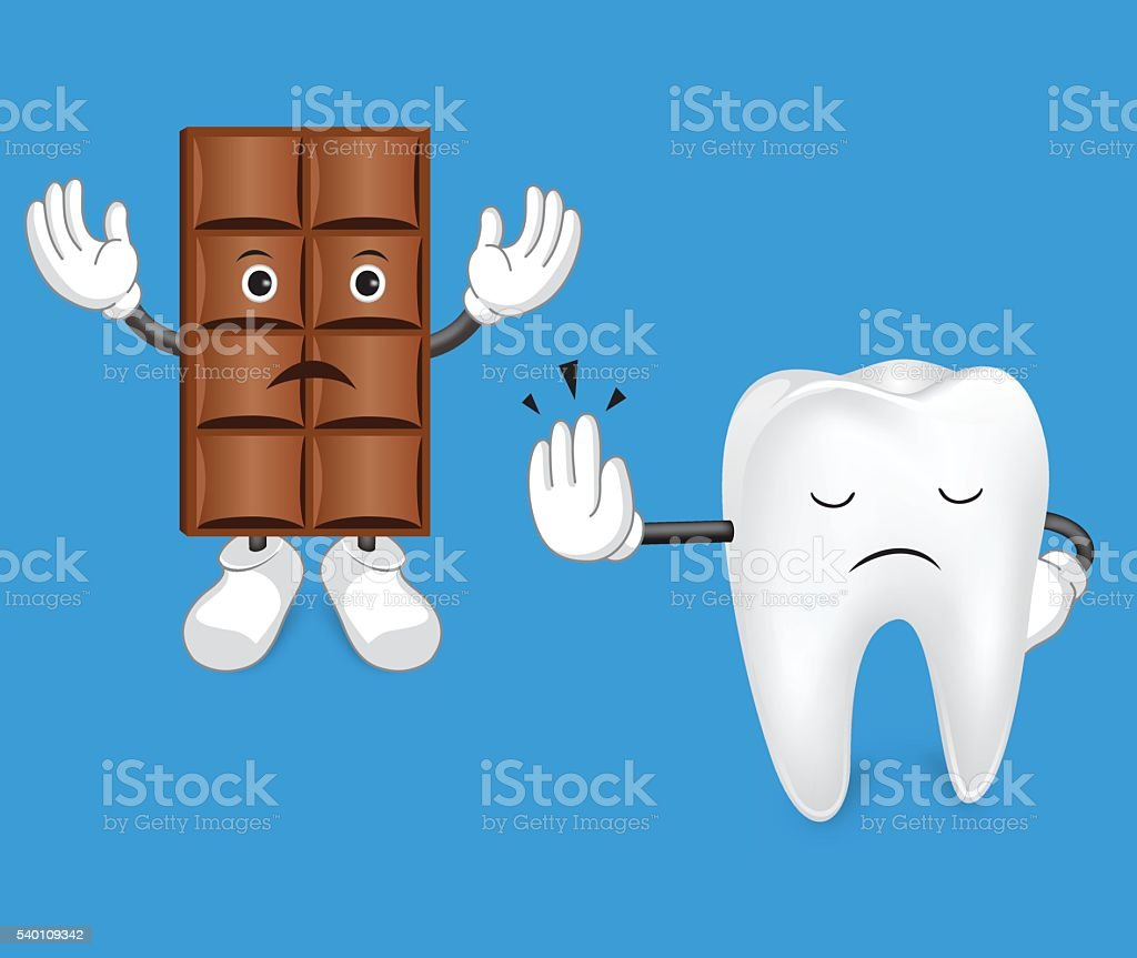Tooth and chocolate. vector art illustration