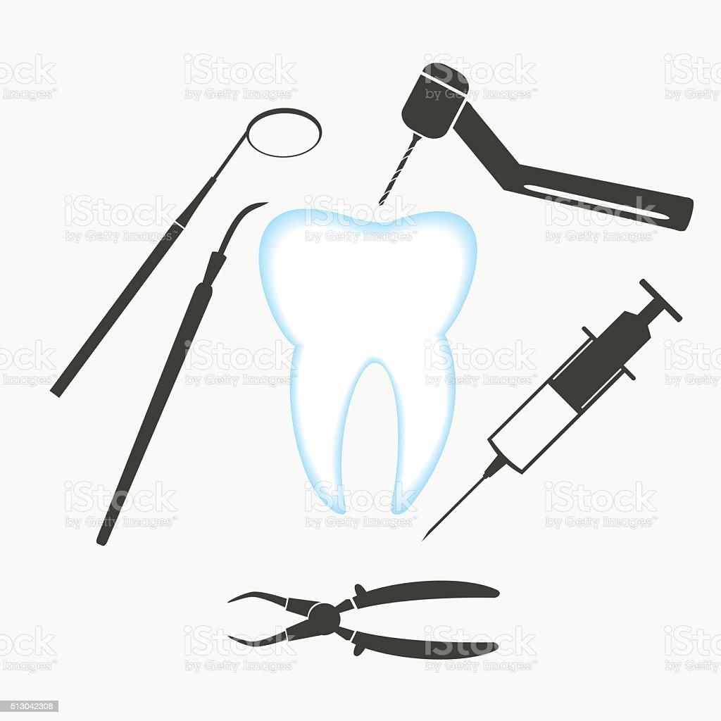 tooth and dental examination tools set eps10 vector art illustration