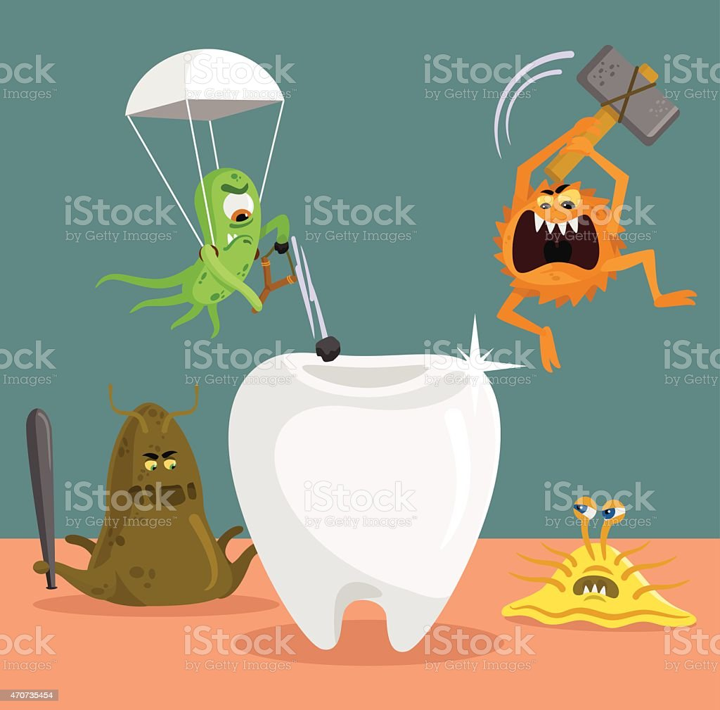 Tooth and germs. Vector flat illustration vector art illustration