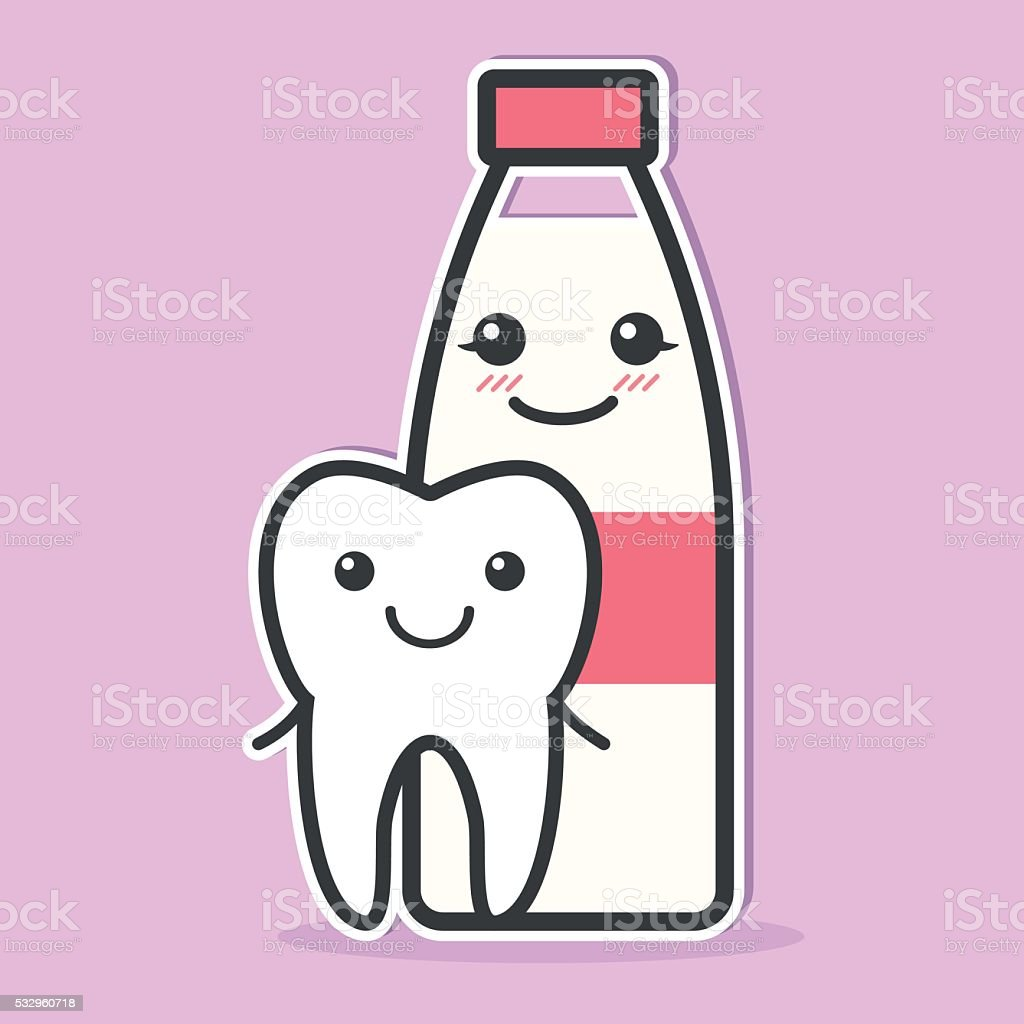 Tooth and milk are friends. vector art illustration
